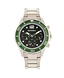 Breed Quartz Pegasus Green Face Multi-Function Silver Alloy Watch 46mm