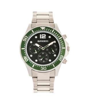 Breed Quartz Pegasus Green Face Multi-Function Silver Alloy Watch 46mm