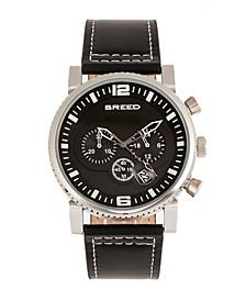Quartz Ryker Black Face Chronograph Genuine Black Leather Watch 45mm