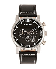 Breed Quartz Ryker Black Face Chronograph Genuine Black Leather Watch 45mm