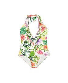 Women's Ruffle One-Piece Flamingo Island