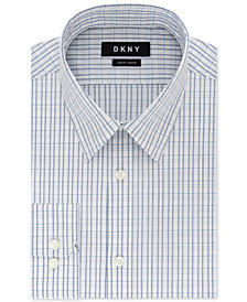 DKNY Men's Slim-Fit Stretch Navy & White Check Dress Shirt