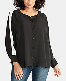 RACHEL Rachel Roy Trendy Plus Size Striped-Sleeve Blouse