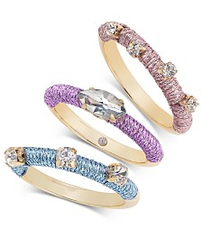 I.N.C. Gold-Tone 3-Pc. Set Multicolor Wrapped Stackable Rings, Created for Macy's