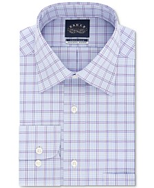 Eagle Men's Classic/Regular Fit Non-Iron Stretch Collar Purple Check Dress Shirt