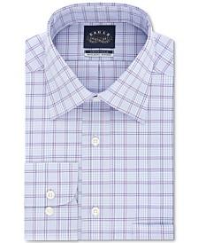 Eagle Men's Classic/Regular Fit Non-Iron Stretch Collar Purple Check Dress Shirt
