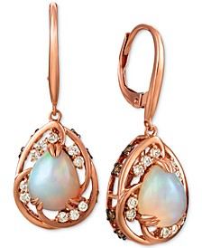 Neopolitan Opal (1-3/4 ct. t.w.), Nude Diamond (1/4 ct. t.w.), and Chocolate Diamond (1/3 ct. t.w.) Drop Earrings in 14k Rose Gold