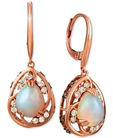 Le Vian® Neopolitan Opal (1-3/4 ct. t.w.), Nude Diamond (1/4 ct. t.w.), and Chocolate Diamond (1/3 ct. t.w.) Drop Earrings in 14k Rose Gold