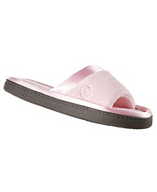 Isotoner Women's Microterry Satin Trim Wider Width Slide Slippers