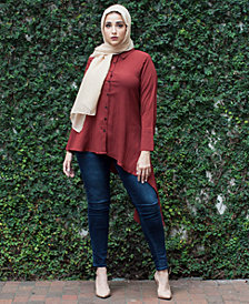 Verona Collection Button-Front High-Low Shirt