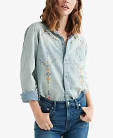 Lucky Brand Cotton Embroidered Boyfriend Shirt