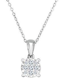 "Diamond Cluster 18"" Pendant Necklace (1/2 ct. t.w.) in 14k White Gold"