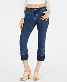 HUE® Two-Tone Cropped Flare Denim