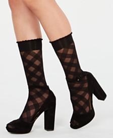 HUE® Diagonal Gingham Sheer Fashion Socks