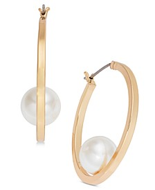 Gold-Tone Imitation Pearl Medium Hoop Earrings , Created for Macy's