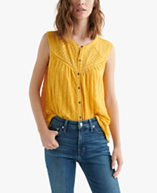 Lucky Brand Cotton Textured Eyelet Blouse