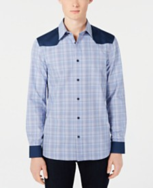 Calvin Klein Men's Classic-Fit Colorblocked Plaid Western Shirt