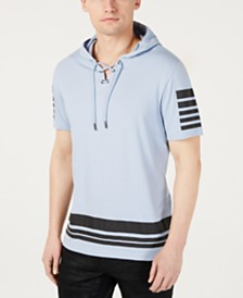 I.N.C. Men's Lace Up Short-Sleeve Hoodie, Created for Macy's