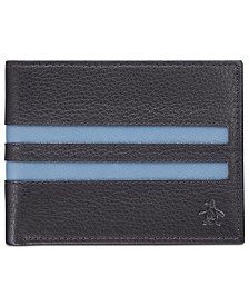 Penguin Men's Striped Leather Wallet