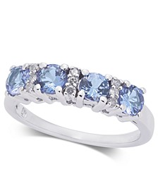 Tanzanite (1 ct. t.w.) & Diamond (1/10 ct. t.w.) Ring in 14k White Gold