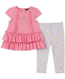 Calvin Klein Baby Girls 2-Pc. Textured Tunic & Printed Leggings Set