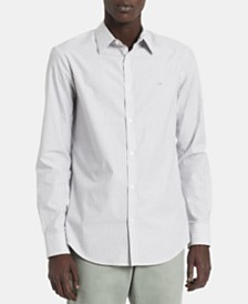 Calvin Klein Men's Slim-Fit Stretch End-On-End Stripe Shirt