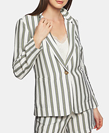 1.STATE Regancy Striped One-Button Blazer