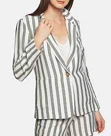 1.STATE Regancy Striped One-Button Blazer