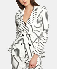 1.STATE Striped Double-Breasted Jacket