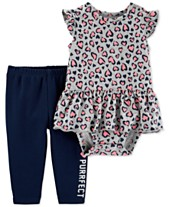 f81ef9e70 Carter's Baby Girls 2-Pc. Cheetah-Print Cotton Bodysuit & Pants Set