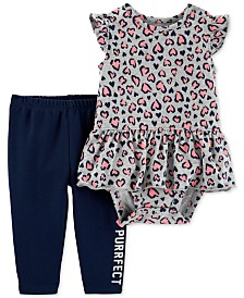Carter's Baby Girls 2-Pc. Cheetah-Print Cotton Bodysuit & Pants Set