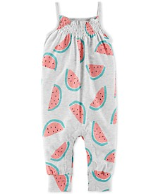 Carter's Baby Girls Watermelon-Print Cotton Jumpsuit