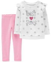 f8e5d6c22 Carter's Baby Girls 2-Pc. Polka-Dot Sister Tunic & Striped Leggings Set