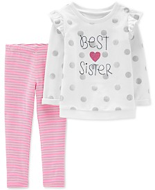 Carter's Baby Girls 2-Pc. Polka-Dot Sister Tunic & Striped Leggings Set