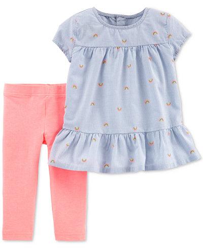 Carter's Baby Girls 2-Pc. Rainbow Tunic & Leggings Set