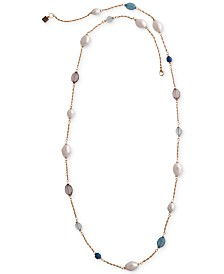 "Laundry by Shelli Segal Gold-Tone Imitation Pearl & Stone Statement Necklace, 40-1/2"" + 2"" extender"