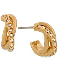 Laundry by Shelli Segal Gold-Tone Pavé Huggie Hoop Earrings