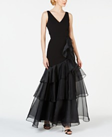 Calvin Klein V-Neck Organza Ruffle Gown