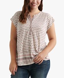 Lucky Brand Plus Size Mixed-Print Split-Neck Top