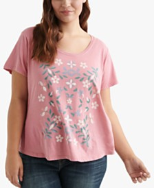 Lucky Brand Cotton Plus Size Mosaic-Graphic T-Shirt