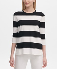 Calvin Klein Striped 3/4-Sleeve Sweater