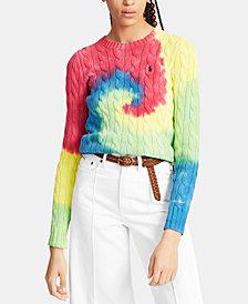 Polo Ralph Lauren Tie-Dye Cable-Knit Cotton Sweater