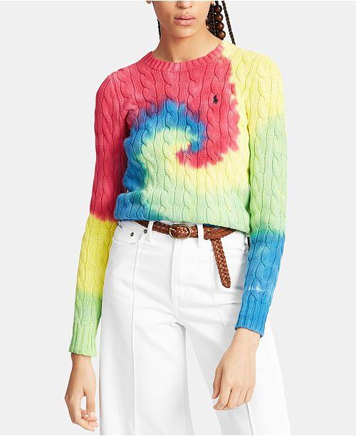 b4fb39d58c Polo Ralph Lauren Tie-Dye Cable-Knit Cotton Sweater   Reviews ...