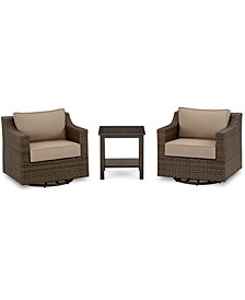 Camden Outdoor Wicker 3-Pc. Seating Set (2 Swivel Chairs & 1 End Table), Created for Macy's
