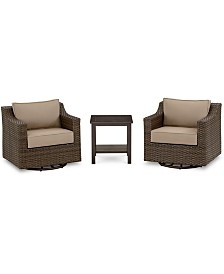 Camden Outdoor Aluminum 3-Pc. Seating Set (2 Swivel Chairs & 1 End Table), Created for Macy's