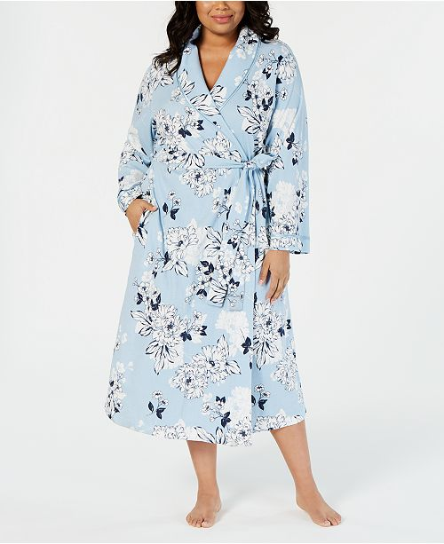 Charter Club Plus-Size Printed Soft Knit Cotton Long Robe, Created for Macy's