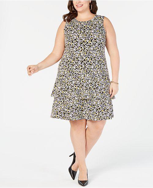 Plus Size Printed Tiered-Hem Dress