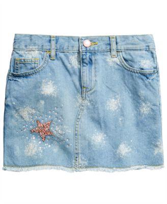 Big Girls Sparkle Denim Skirt, Created for Macy's