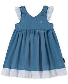 Toddler Girls Cotton Eyelet Denim Dress