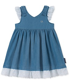 Calvin Klein Little Girls Cotton Eyelet Denim Dress
